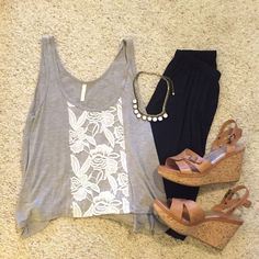 Grey and White Lace Tank Top/Crop Top Grey with white lace: size S belly shirt/ tank top! Tops Crop Tops