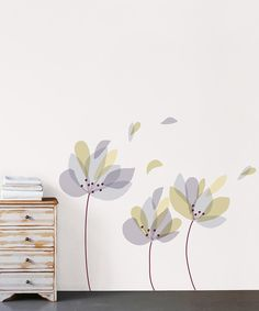 Take a look at this Purple & Gray Petals Wall Decal Set on zulily today!