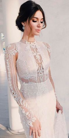 lace wedding dresses sheath high neckline with long illusion sleeves galia lahav - Bridal Gowns Wedding Dress Sleeves, Best Wedding Dresses, Bridal Dresses, Lace Dress, Dresses With Sleeves, Lace Wedding, Civil Wedding, Diy Wedding, Trendy Wedding