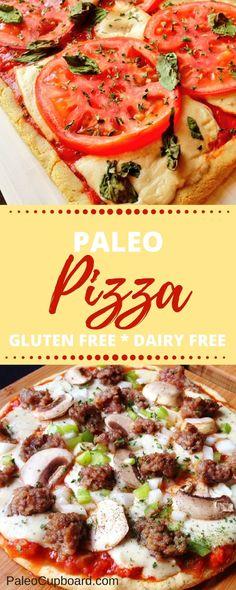 Paleo Pizza recipe - Gluten Free, Grain Free, Dairy Free Pizza! -www.PaleoCupboard.com