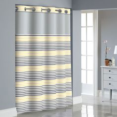 Hookless Stripe Shower Curtain with Liner,