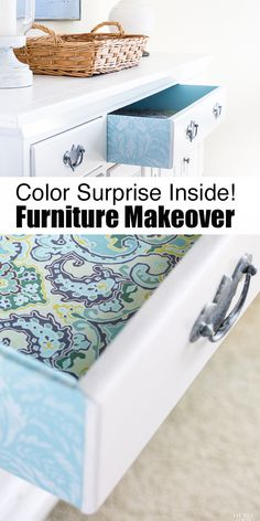 Furniture makeover that goes beyond just the exterior. Why not make your next furniture extra special by coordinating and lining the drawer with fabric...and even stencil the sides!  It is the perfect decorating project when you have a yard of fabric leftover from another project. #WavelyInspriations #ad