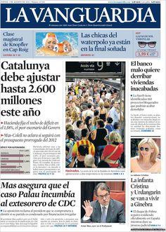Los Titulares y Portadas de Noticias Destacadas Españolas del 1 de Agosto de 2013 del Diario La Vanguardia ¿Que le pareció esta Portada de este Diario Español?