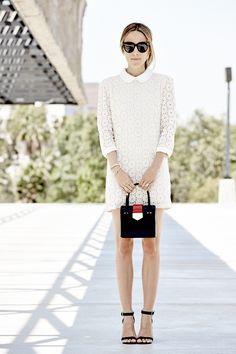 Lovers & Friends White Lace Dress, Black Sandals, Black Mini Bag, Delicate Layered Gold Bracelets