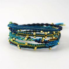 The Turquoise Mix Gold Vermail on Cotton Cord Wrap