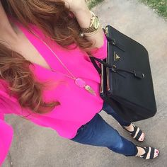 Casual Style Sleeve Stand-Up Collar Solid Color Women's Blouse Hot Pink Shirt Outfit, Pink Shoes Outfit, Hot Pink Pants, Tennis Shoes Outfit, Blouse Outfit, Cute Fashion, Urban Fashion, Fashion Outfits, Womens Fashion
