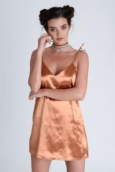Bronze Copper Satin Slip Dress