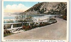 Early 1900s Pacific Coast Highway, Santa Barbara, CA postcard