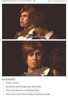 He's right, it's not about Harry. It's about Ron's chocolate. They have their priorities straight at least.<<your right at LEAST they have their priorities straight Harry Potter Universal, Harry Potter Fandom, Harry Potter Memes, Very Potter Musical, No Muggles, Avpm, Team Starkid, Yer A Wizard Harry, Another Anime