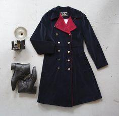 OUTFIT! Redesigned vintage velvet coat by Community Service, with lace-up boots and a vintage camera.