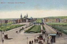 A panoramic view of Floriana The monument of Christ the King was not yet erected and the palm trees in The Biskuttin were less than a meter high. Malta Valletta, Christ The King, Professional Photographer, Old Photos, Palm Trees, Framed Artwork, Dolores Park, Mansions, Travel