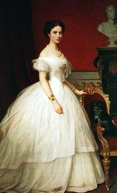 This off-the-shoulders sleeve style is known as the Bertha sleeve. Berthas were wide, deep collars following the neckline (often with lace). Many Bertha sleeves dresses made a wide dip at the center, like a slight V-cut dress. The bertha sleeve accentuated the shoulder to make the waist look smaller.