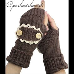 Brown Lace and Button Arm Warmer 100% acrylic. These are the darker brown like the first picture. Accessories Gloves & Mittens