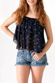 Navy drape chiffon tank top with anchor and star print. Partially lined. Pair with our denim print cutoff shorts for a casual spring and summer look.   Anchor Print Tank by Ocean Drive. Clothing - Tops - Tees & Tanks Philadelphia, Pennsylvania