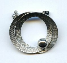 Vtg 1960s Ekelund Small Atomic Textured Silver Tone Double Circle Brooch Pin
