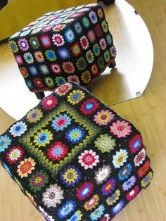 Crochet storage square. Cool idea! Can use any granny square color combo. Easy, cheap fix if you don't like a pattern on something.
