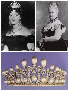 Queen Mary's grandmother, (Top left) Princess Augusta of Hesse-Kassel was given a lover's knot tiara by her parents (Frederick of Hess & Carolline of Nassau) when she wed Prince Adolphus of Cambridge. She gave it to her daughter, Augusta (Top right) when she wed GD Friedrich of Mecklenburg-Streilitz. In 1981 it was sold, via Christie's for CFH280,000.