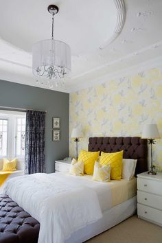Nice us of greys and yellow.  Wallpaper feature wall behind the bedhead blends beautifully with the decor and love that feature ceiling #bedrooms #wallpaper #ceilings