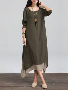 ce8ef2b237 Plus Size Women Asymmetrical Daily Cotton Casual Long Sleeve Dress Linen  Dresses