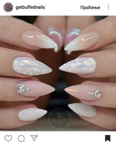 Stiletto nude ombre glitter nails #getbuffednails