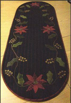 primitive wool applique patterns | Primitive Folk Art Fabric and Wool Applique Pattern: HOLLY ...