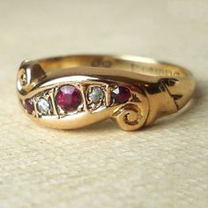 Vintage Ruby Engagement Ring 1940's Gold Diamond and by luxedeluxe