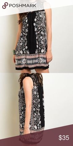 Stunning lace detail boho dress/tunic Beautiful floral black and blush print with lace inset at top! Dresses