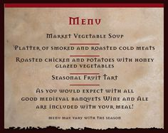 Menu for a medieval feast google search wedding menu for Tudor menu template