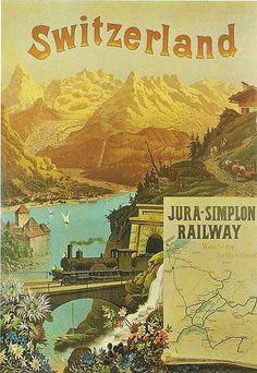 Extraordinary Vintage Railway Poster - Jura-Simplon - Switzerland - 1920s.