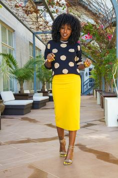 StylePantry | Polka Dot Sweater + Midi Pencil Skirt