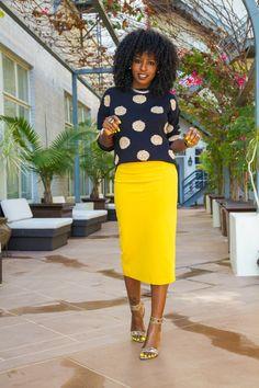 StylePantry | Polka Dot Sweater + Midi Pencil Skirt