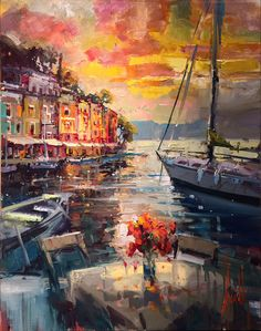 "Steven Quartly Originals ""Sunsets With You"" - Featured Artist Impressionist Paintings, Landscape Paintings, Art Paintings For Sale, South African Artists, City Scene, Online Painting, Large Art, American Artists, Aesthetic Pictures"