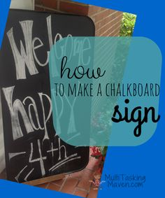 How to Make a Chalkboard Sign is a multipurpose board for notes and magnetic to hold your favorite notes, pictures, and cards. Video tutorial included. Click here to see how easy:  http://multitaskingmaven.com/how-to-make-a-chalkboard-sign/