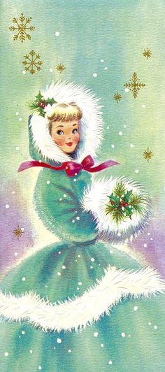 Mid-century Modern Christmas Card. Christmas Girl with Muff. Vintage Christmas Card. Retro Christmas Card.