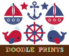 Nautical Sailboat Clipart - Digital Clip Art - Sailboats, Whale, Anchor - Red and Navy Nautical - Personal and Commercial Use. $5.00, via Etsy.