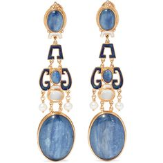Percossi Papi Gold-plated multi-stone earrings ($1,155) ❤ liked on Polyvore featuring jewelry, earrings, gold, earring jewelry, gold plated jewellery, gold plated earrings, earrings jewellery and gold plated jewelry