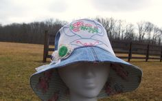 Garden Hat/Sun Hat  Women upcycled denim by GreenbriarCreations, $15.00