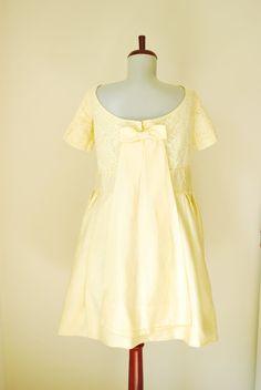 Vintage Pastel Yellow Lace Party Dress  Plus size by shoplucilles, $79.00