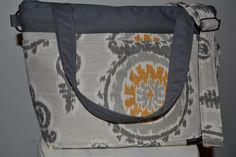 Purse, messenger, travel bag zipper close, diaper or book bag, slouch, Yellow and Gray, Ikat by Darby Mack Designs. $79.00, via Etsy.
