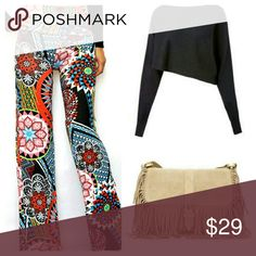 """Poppy"" Boho Palazzo Pants (S/M/L) Comfy boho print palazzo pants, double banded, high foldover waist, black with beautiful boho print. Fun & super cute. Bring out your ""inner hippie""!  Material: polyester and spandex Approx. Measurements: S: 24-26"" waist, 36-38"" hips, 46"" long  M: 26-30"" waist, 38-40"" hips, 46"" long  L: 30-32"" waist, 40-42"" hips, 47"" long Wild Plum Boutique  Pants"