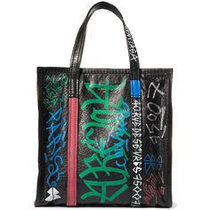 Balenciaga Balenciaga - Bazar Small Printed Textured-leather Tote -... (€1.450) ❤ liked on Polyvore featuring bags, handbags, tote bags, balenciaga purse, handbags tote bags, multi color purse, multi colored purses and zip purse