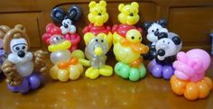 Various balloon animals made by Balloontwistee