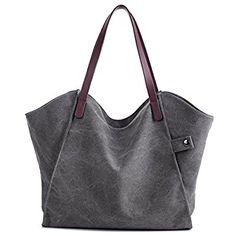 FavoMode Morden Large Grey Canvas Tote Bag Handbag Daily Simple Style Shoulder Bag School Bag Beach Shopper for Women
