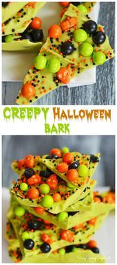 10 Minute Halloween Candy Bark Halloween Desserts, Creepy Halloween Food, Halloween Goodies, Halloween Food For Party, Easy Halloween, Halloween Season, Halloween Candy Bar, Creepy Food, Zombie Party