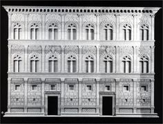 The first palace design displaying the superimposition of the Architectural Orders: Palazzo Rucellai, Florence, Italy; designed by Leon Battista Alberti (1404-1472), built under the direction of Bernardo Rossellino between 1446-1451. Reconstruction model of the entire façade.