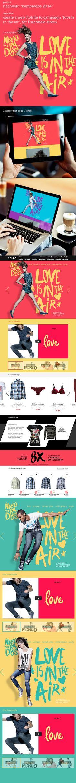 "Riachuelo ""Love is in the air"" hotsite on Web Design Served Web Layout, Layout Design, Design Web, Site Design, Graphic Design Branding, Graphic Design Illustration, Web Mobile, Apps, Love Is In The Air"