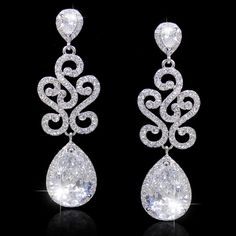 Gem Flawless Diamond AAA Zircon Wedding Earrings, Silver Accessories, Swarovski Crystal Earring, Bridesmaid Jewelry-175246879