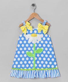Blue & White Polka Dot Daisy Dress - Toddler & Girls