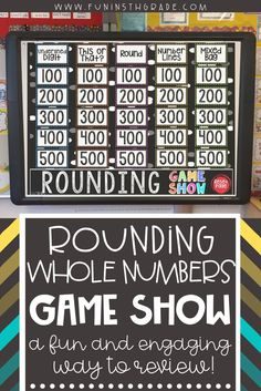 A fun and engaging way to teach your students how to round whole numbers.  This interactive game show is great for teaching this math skill to 4th grade and 5th grade students.  This math activity can be used to review math standards and test prep.  This game show comes on a PowerPoint and is easy to use. Your students will be cheering when they see you pull this up!  #testprep #roundingnumbers #games
