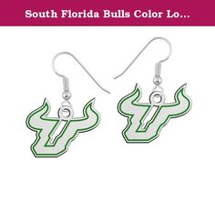 "South Florida Bulls Color Logo Earrings. We've taken a simple college logo drop earring and added our durable enamel color to enhance the look. Our sterling silver logo earring collection utilizes state of the art manufacturing and high quality solid sterling silver to create the finest collegiate earring anywhere! Spirit with style.....""The indicia featured on this product are protected trademarks owned by the respective college or university.""."